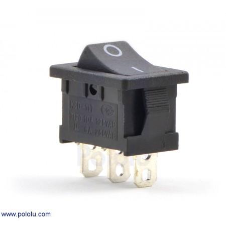 Rocker Switch: 3-Pin, SPDT, 10A